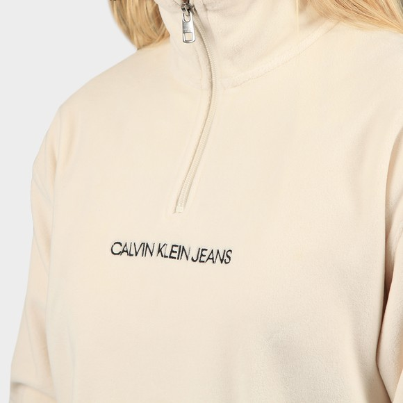 Calvin Klein Jeans Womens Off-White Half Zip Polar Fleece main image