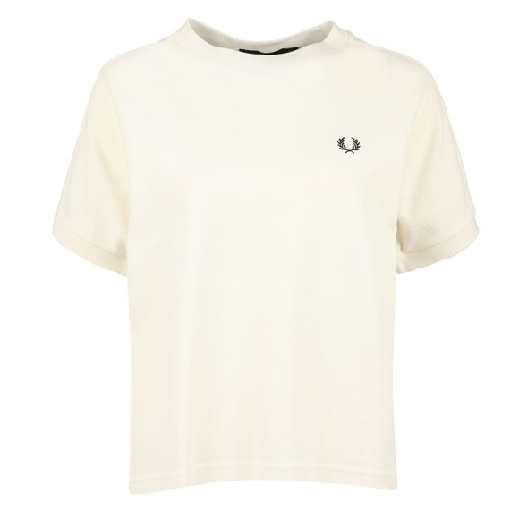 Fred Perry Womens Off-White Boxy Pique T-Shirt main image