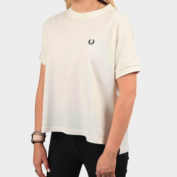 Fred Perry Womens Off-White Boxy Pique T-Shirt