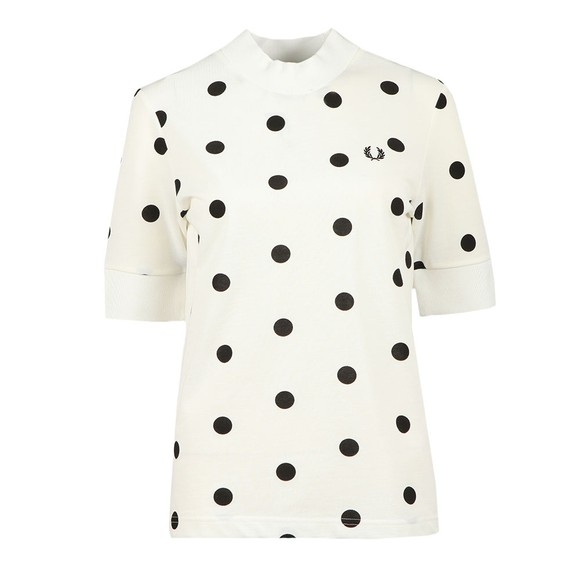 Fred Perry Womens Off-White Spot Print Pique T Shirt