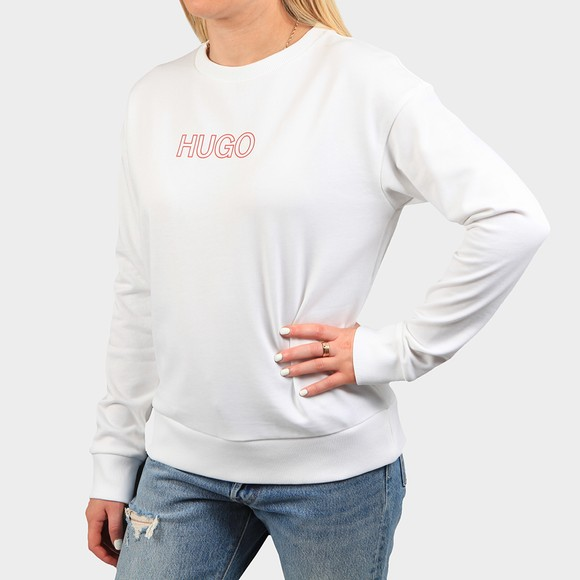 HUGO Womens White Nakira 3 Sweatshirt