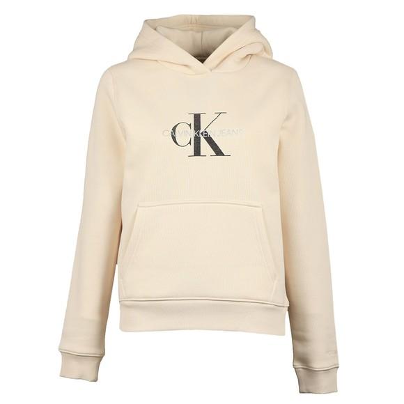Calvin Klein Jeans Womens Off-White Reflective Monogram Overhead Hoody
