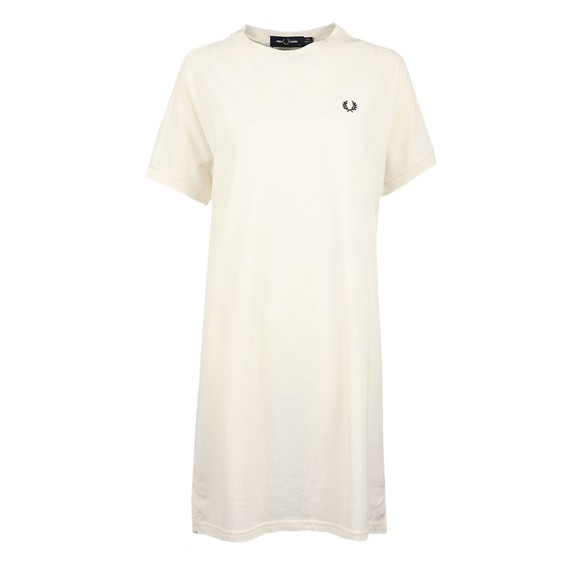 Fred Perry Womens Off-White Boxy Pique T Shirt Dress