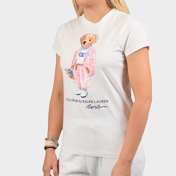 Polo Bear By Ralph Lauren Womens White Picnic Bear T-Shirt