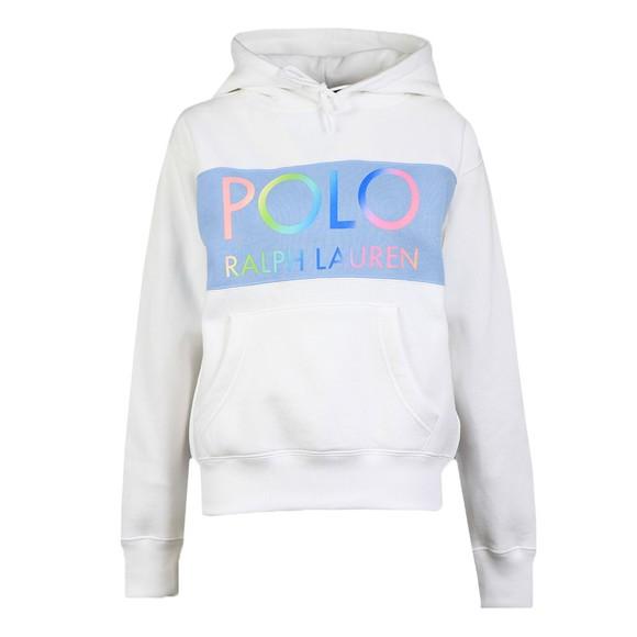 Polo Ralph Lauren Womens White Vintage Panel Logo Overhead Hoody