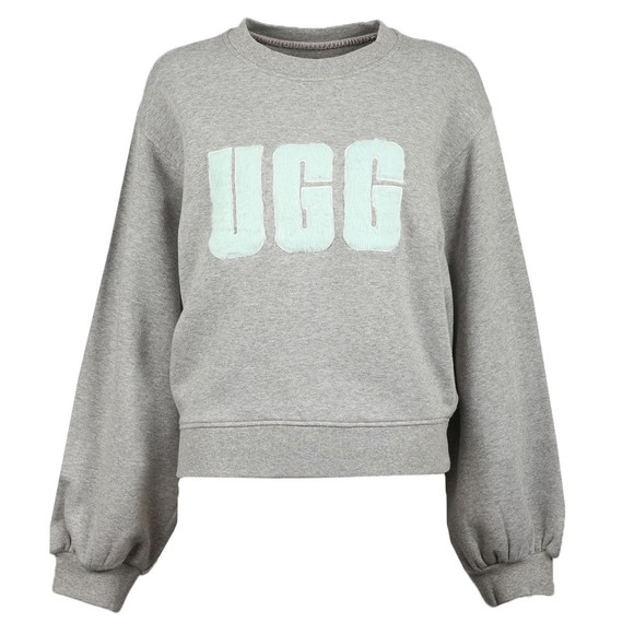 Ugg Womens Grey Fuzzy Logo Brook Crew Sweatshirt