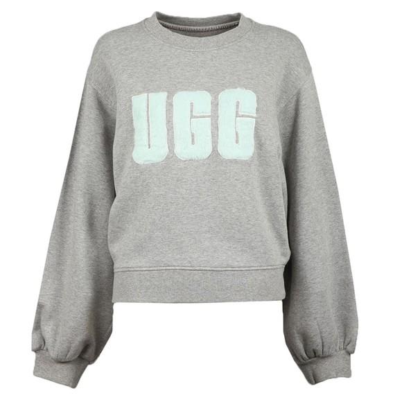 Ugg Womens Grey Fuzzy Logo Brook Crew Sweatshirt main image