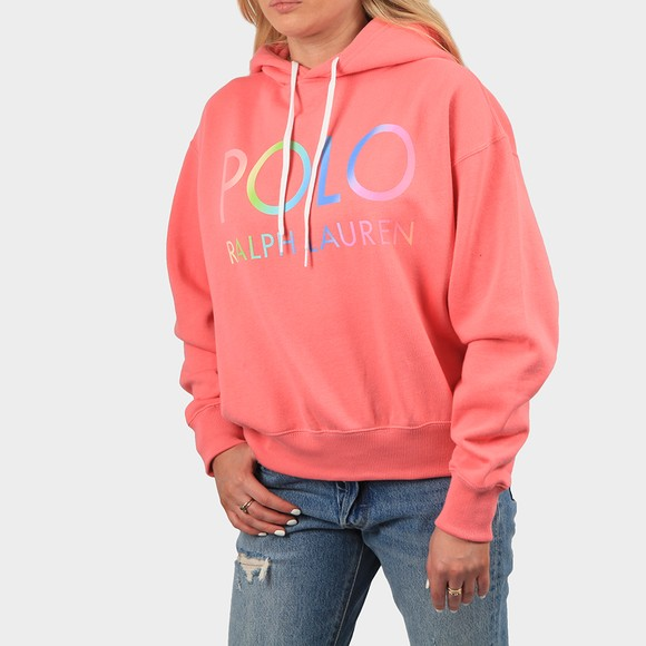 Polo Ralph Lauren Womens Pink Relaxed Polo Logo Hoody