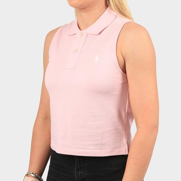 Polo Ralph Lauren Womens Pink Classic Two Button Sleeveless Polo Shirt