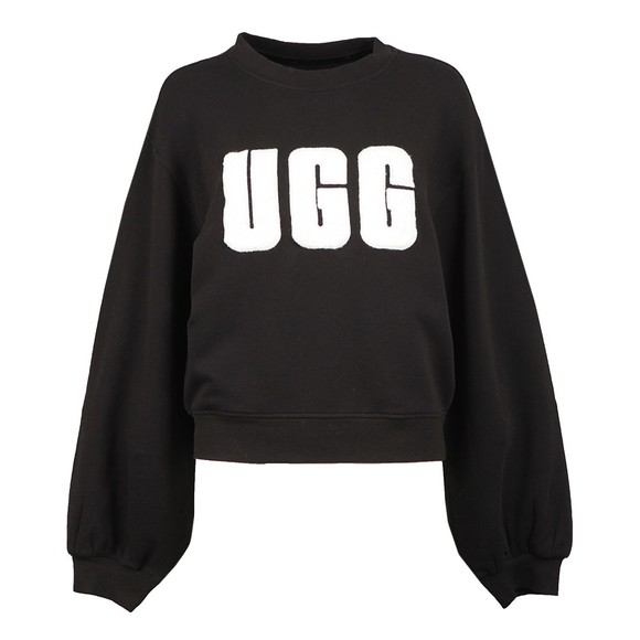 Ugg Womens Black Fuzzy Logo Brook Crew Sweatshirt