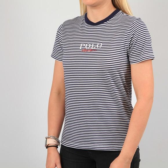 Polo Ralph Lauren Womens Blue Mini Embroidered T-Shirt