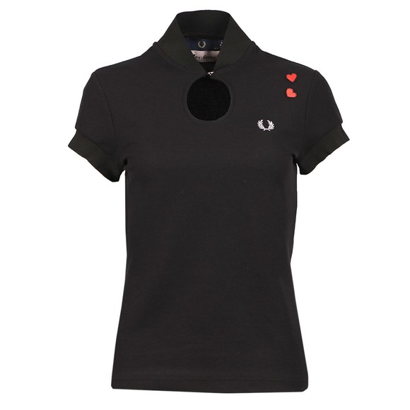 Fred Perry x Amy Winehouse Womens Black Keyhole Pique T Shirt