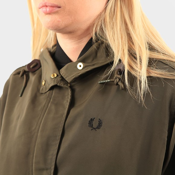 Fred Perry Womens Green Short Fishtail Parka main image