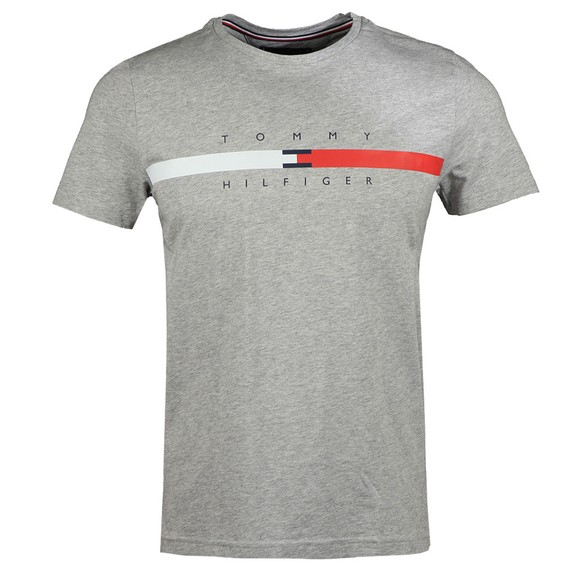 Tommy Hilfiger Mens Grey Global Stripe Chest T-Shirt