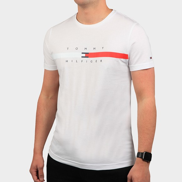 Tommy Hilfiger Mens White Global Stripe Chest T-Shirt