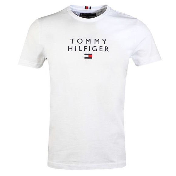 Tommy Hilfiger Mens White Stacked Flag T-Shirt