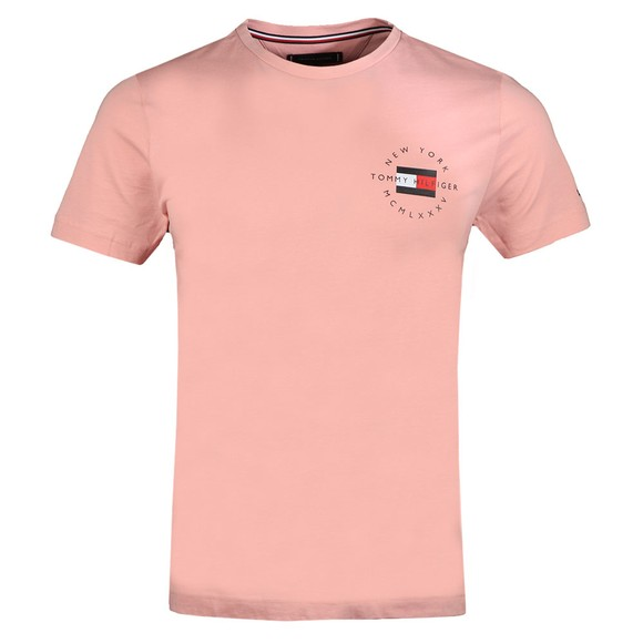 Tommy Hilfiger Mens Pink Circle Chest Corp T-Shirt