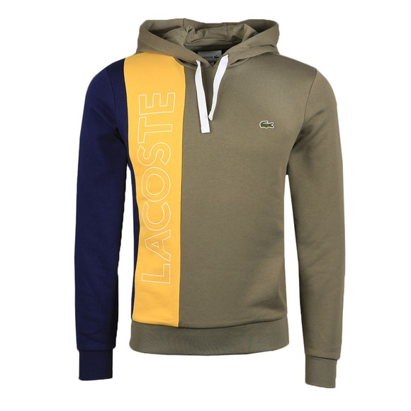 Lacoste Mens Green SH0178 Logo Colourblock Hoody