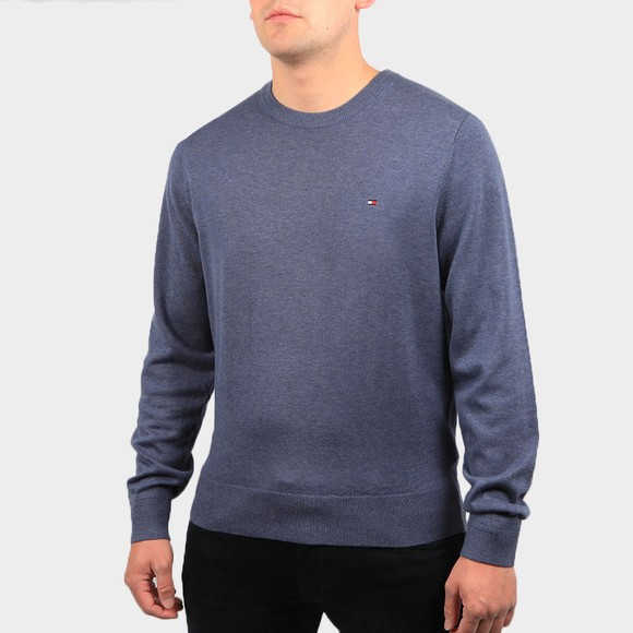 Tommy Hilfiger Mens Blue Organic Cotton Crew Jumper