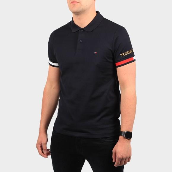 Tommy Hilfiger Mens Blue Flag Cuff Slim Polo Shirt