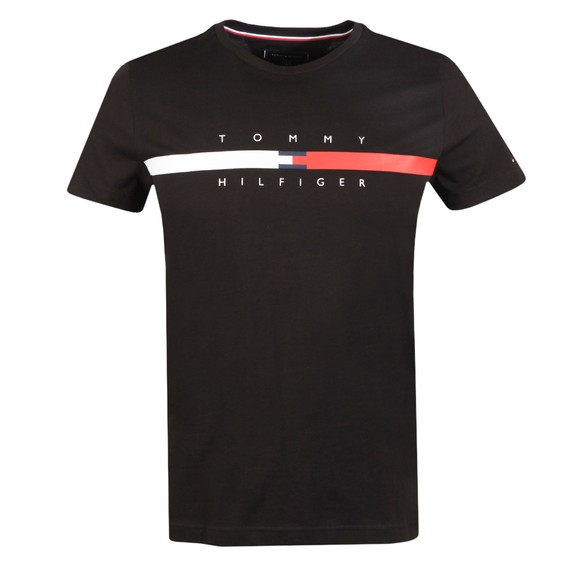 Tommy Hilfiger Mens Black Global Stripe Chest T-Shirt