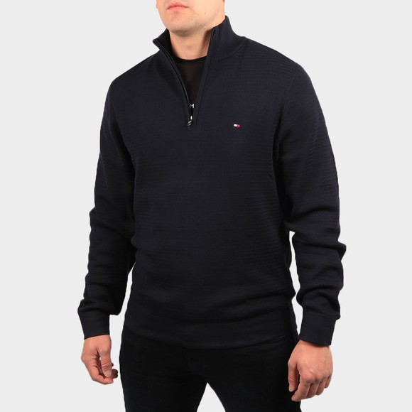 Tommy Hilfiger Mens Blue Zig Zag 1/2 Zip Jumper