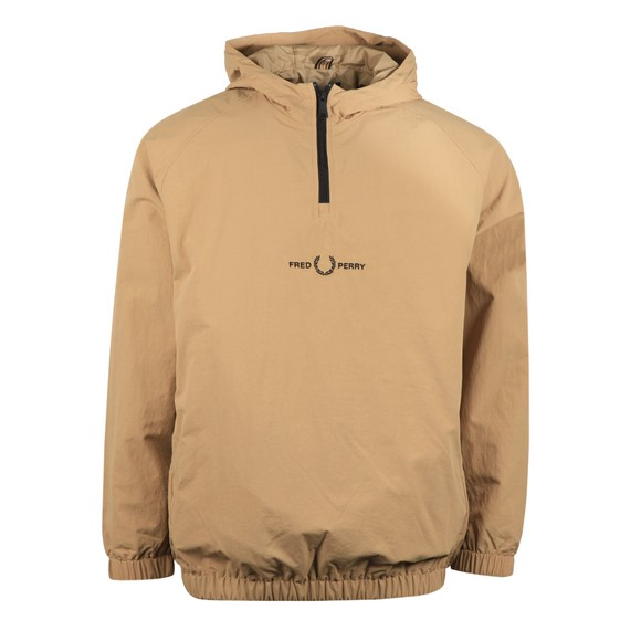 Fred Perry Mens Beige Embroidered Half Zip Jacket
