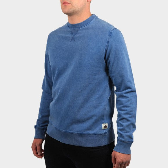 Pretty Green Mens Blue Garment Dyed Sweatshirt