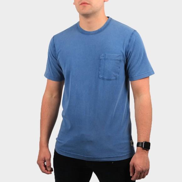 Pretty Green Mens Blue Garment Dyed T-Shirt