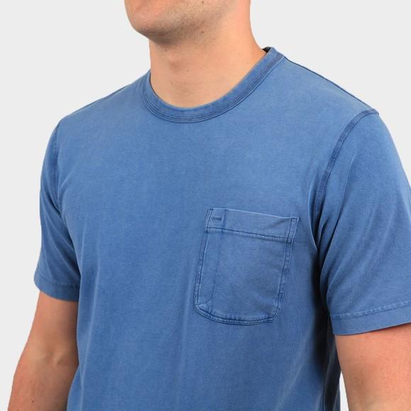 Pretty Green Mens Blue Garment Dyed T-Shirt main image