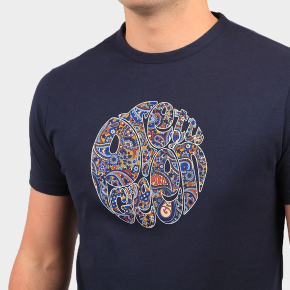 Pretty Green Mens Blue Paisley Print Logo T Shirt main image
