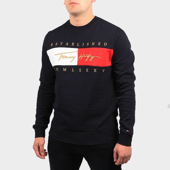 Tommy Hilfiger Mens Blue Signature Flag Sweatshirt