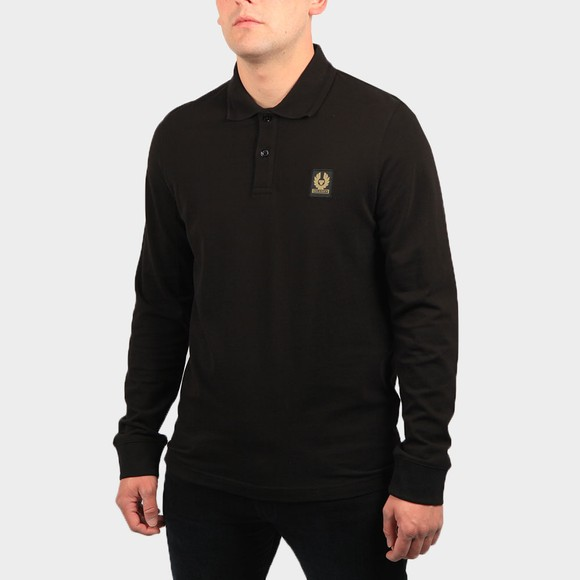 Belstaff Mens Black Essential Long Sleeve Polo Shirt