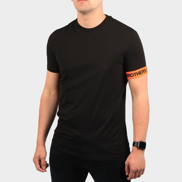 Dsquared2 Mens Black Brothers Tape Sleeve T Shirt
