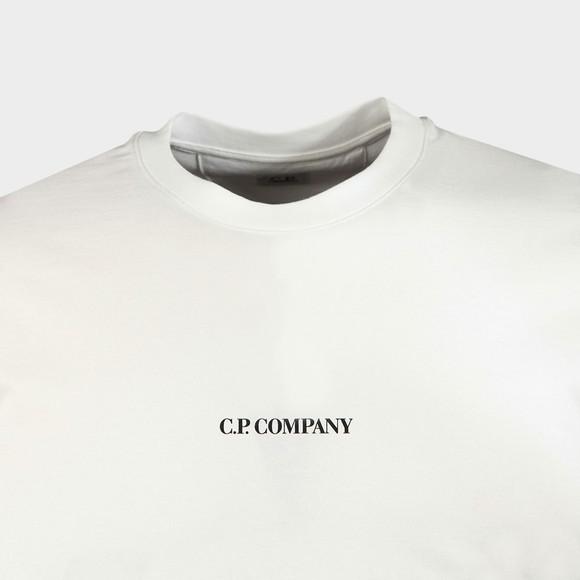 C.P. Company Mens Off-White Centre Logo T Shirt