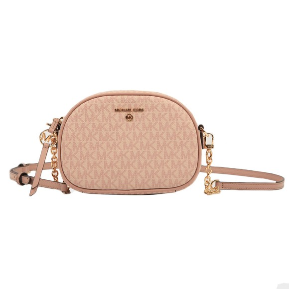 Michael Kors Womens Pink Jet Set Charm Small Oval Camera Cross Body