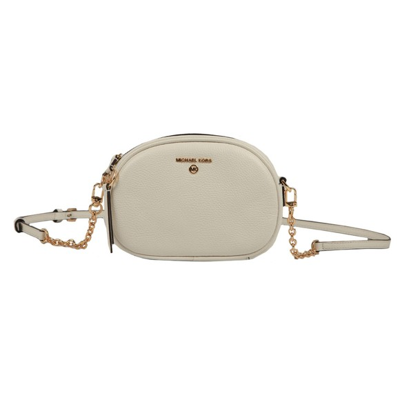Michael Kors Womens White Jet Set Charm Small Oval Camera Cross Body