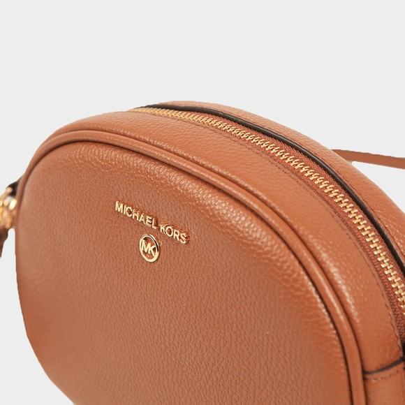 Michael Kors Womens Brown Jet Set Charm Small Oval Camera Cross Body