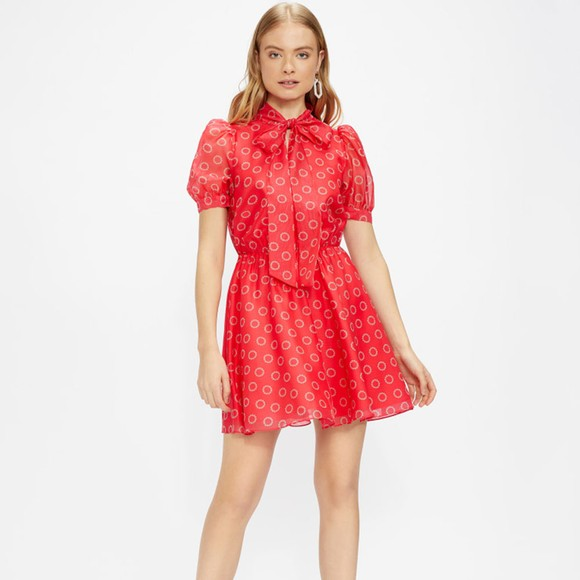 Ted Baker Womens Pink Dottyy Puff Sleeve Mini Dress main image