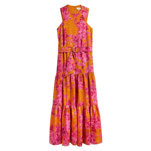 Ted Baker Womens Yellow Bambia Tiered Relaxed Maxi Dress