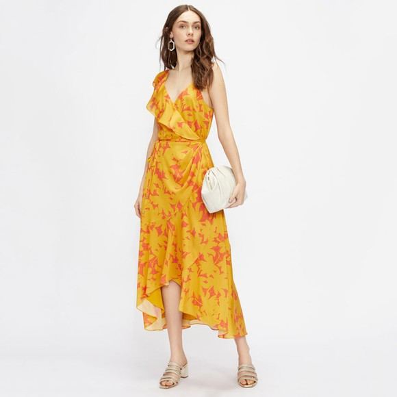 Ted Baker Womens Yellow Ruffle Midi Wrap