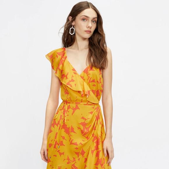 Ted Baker Womens Yellow Ruffle Midi Wrap main image
