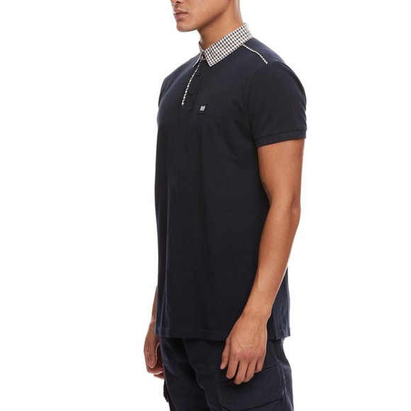 Weekend Offender Mens Blue Diani Check Collar Polo Shirt main image