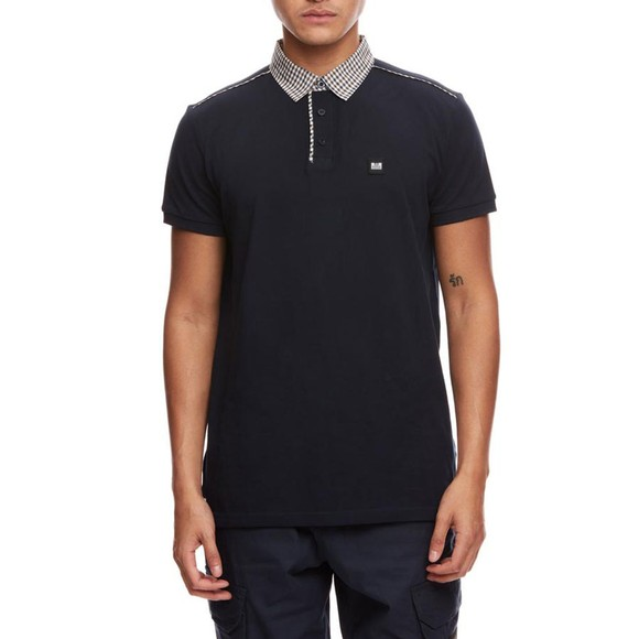Weekend Offender Mens Blue Diani Check Collar Polo Shirt