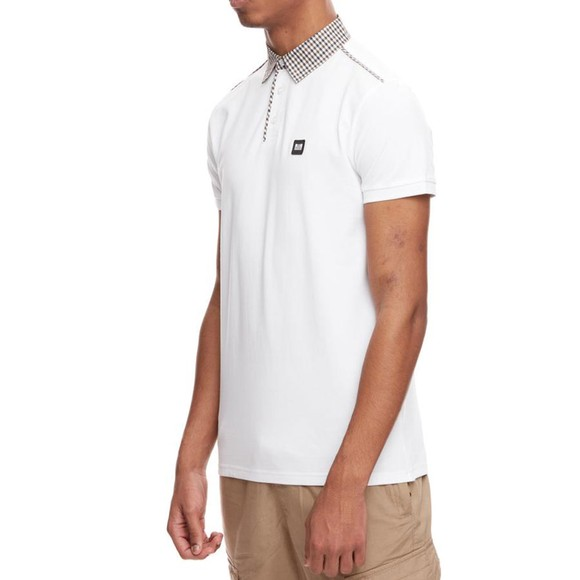 Weekend Offender Mens White Diani Check Collar Polo Shirt