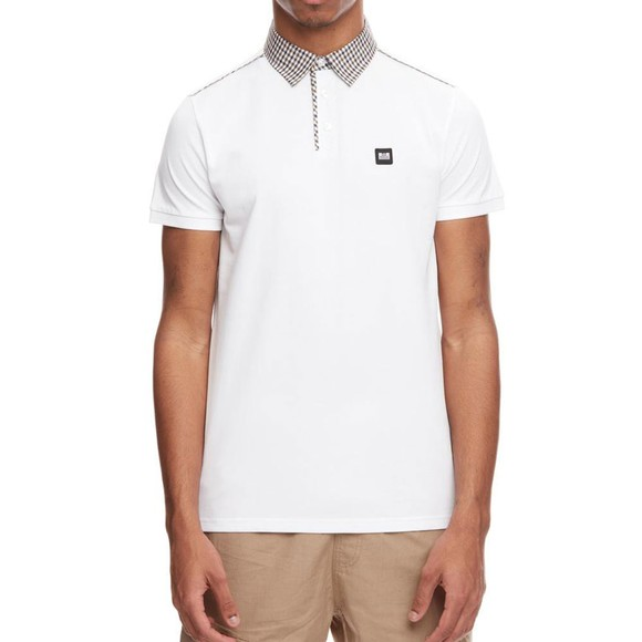Weekend Offender Mens White Diani Check Collar Polo Shirt main image