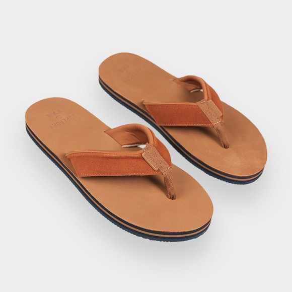 Superdry Mens Brown Premium Surf Leather Flip Flop main image