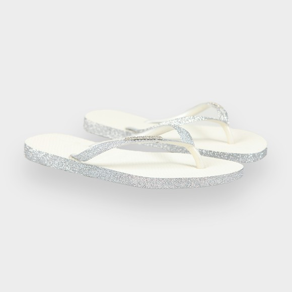 Havaianas Womens White Slim Sparkle Flip Flop