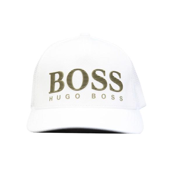 BOSS Mens White Athleisure Grid Cap