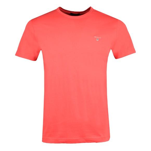 Gant Mens Pink Solid Crew Neck T-Shirt